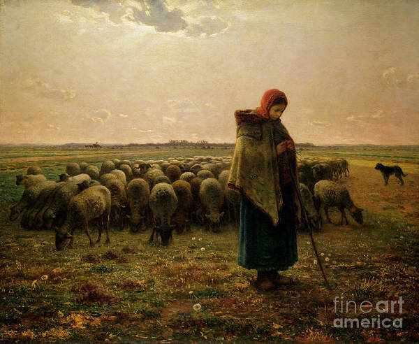 Rural Scene Painting - Shepherdess With Her Flock by Jean Francois Millet