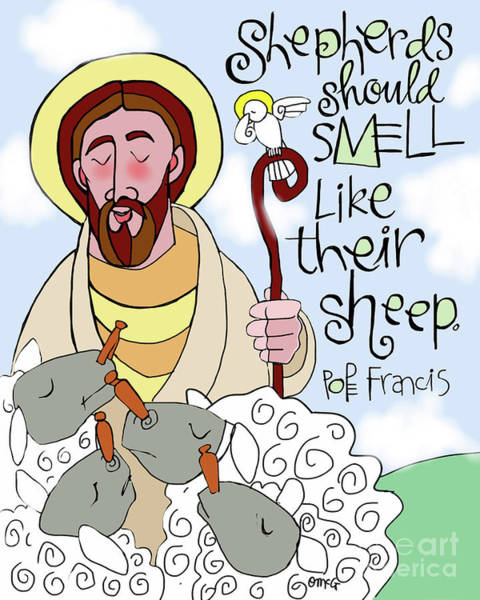 Painting - Shepherds Should Smell Like Their Sheep - Msss by Br Mickey McGrath OSFS