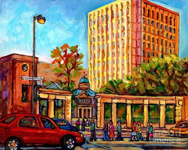 Painting - Sherbrooke And Mcgill College Streets Montreal Mcgill University Roddick Gates Landmark Painting by Carole Spandau