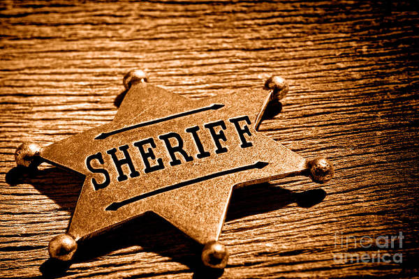 Wall Art - Photograph - Sheriff Badge - Sepia by Olivier Le Queinec