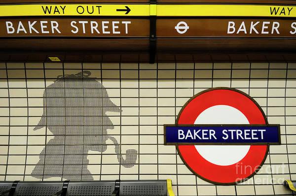 Wall Art - Photograph - Sherlock Holmes Tiles At Baker Street Tube Station by Liz Pinchen