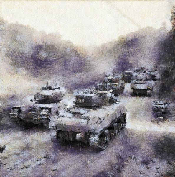 Tank Painting - Sherman Tanks Pass A Column Of Churchills As They Advance Towards Vassy by Esoterica Art Agency