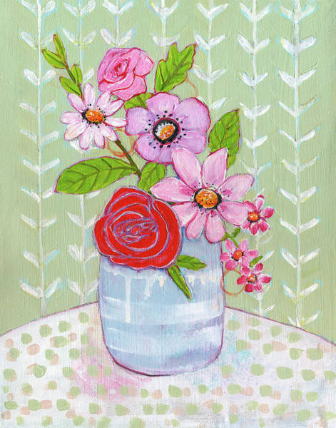 Wall Art - Painting - She's A Wildflower by Blenda Studio