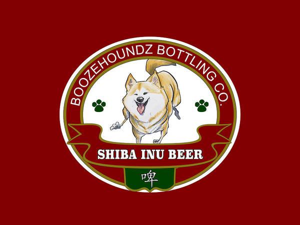 Drawing - Shiba Inu Beer by John LaFree