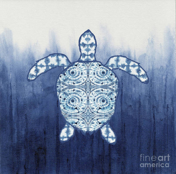 Turtle Painting - Shibori Blue 1 - Patterned Sea Turtle Over Indigo Ombre Wash by Audrey Jeanne Roberts