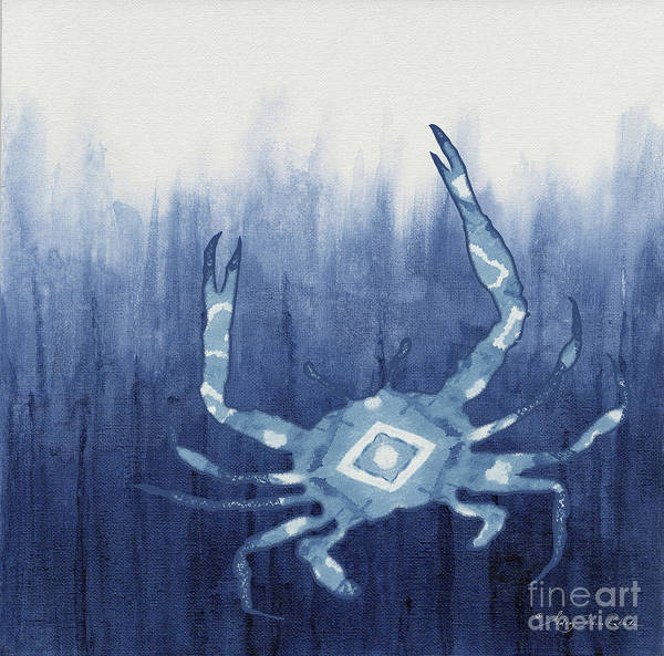 Wall Art - Painting - Shibori Blue 4 - Patterned Blue Crab Over Indigo Ombre Wash by Audrey Jeanne Roberts