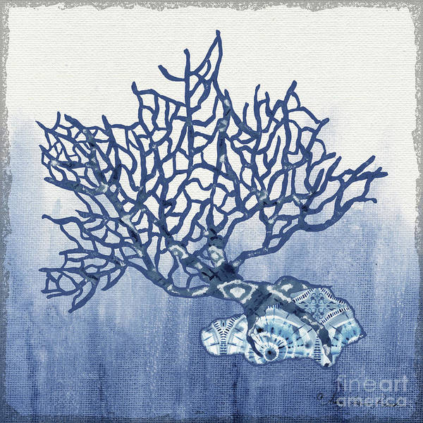 Wall Art - Painting - Shibori Blue 5 - Patterned Blue Sea Coral On Rock Over Indigo Ombre Wash by Audrey Jeanne Roberts