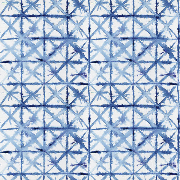 Wall Art - Painting - Shibori Kubo Watecolor X Pattern Line Work Indigo Blue by Audrey Jeanne Roberts