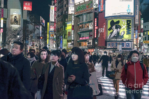 Art Print featuring the photograph Shibuya Crossing, Tokyo Japan Poster 2 by Perry Rodriguez