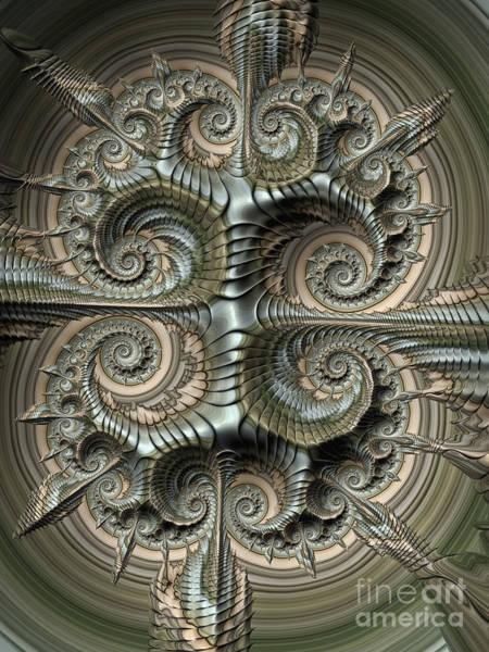 Spiral Digital Art - Shield by John Edwards