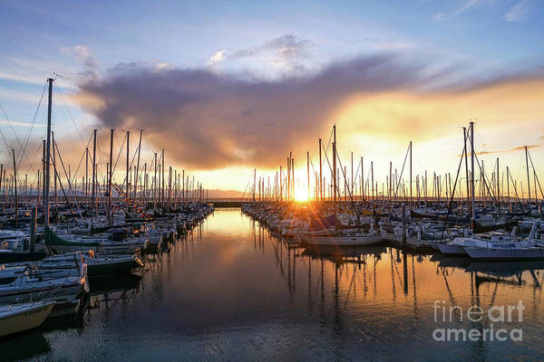 Safeco Field Photograph - Shilshole Marina Golden Sunset by Mike Reid