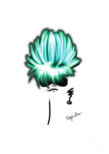 Hairdo Digital Art - Shimmer In Aqua And Blue by Peta Brown