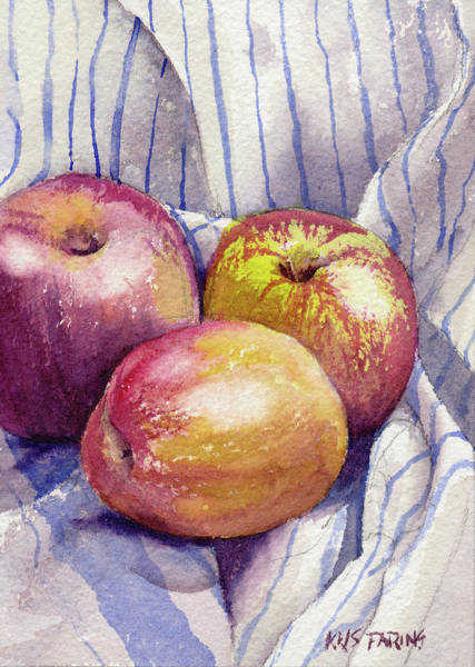 Wall Art - Painting - Shine On 3 Apples by Kris Parins