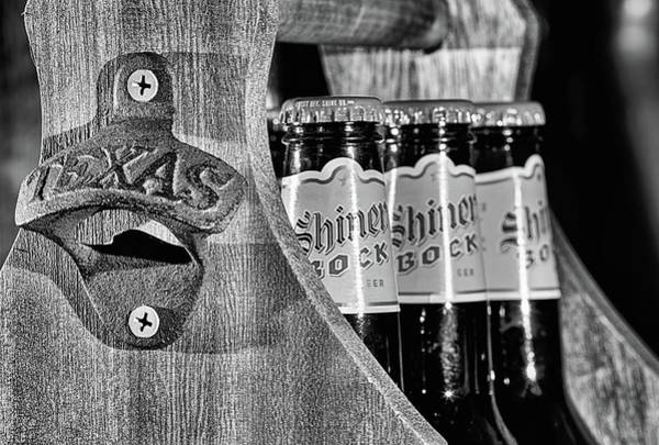Wall Art - Photograph - Shiner Bock The Beer Of Texas Black And White by JC Findley