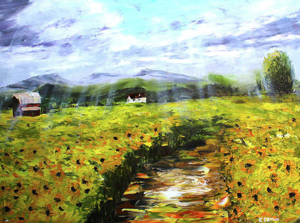Painting - Shining On The Sunflowers by Kevin Brown