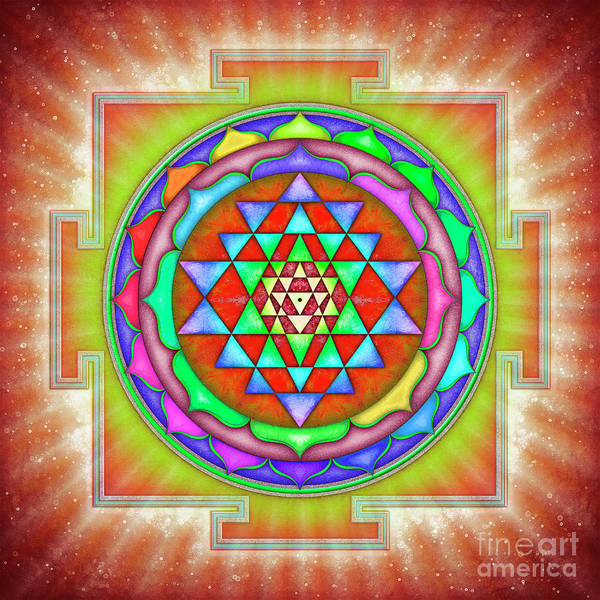 Wall Art - Digital Art - Shining Sri Yantra Mandala II by Dirk Czarnota