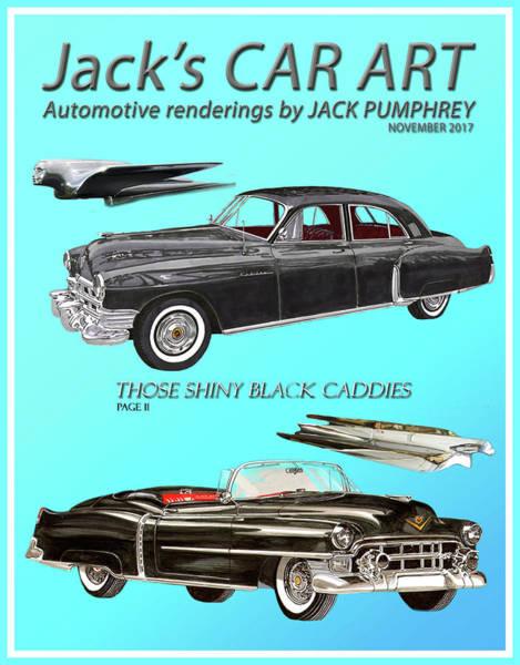 Wall Art - Painting - Shiny Black Cadillac Art by Jack Pumphrey