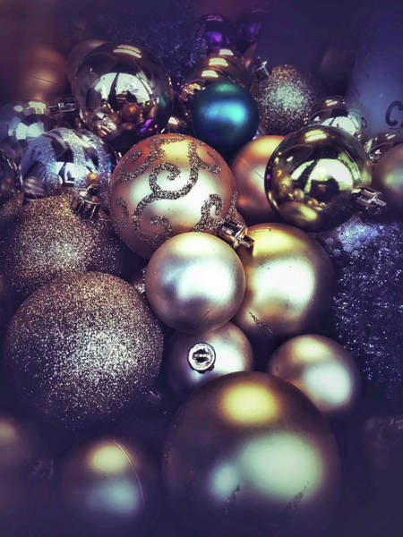 Winter Holiday Photograph - Shiny Christmas Baubles by Tom Gowanlock