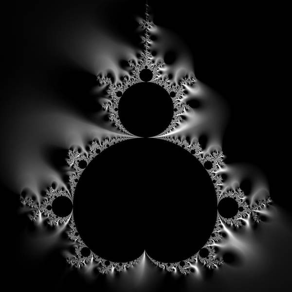 Digital Art - Shiny Cool Mandelbrot Set Black And White by Matthias Hauser