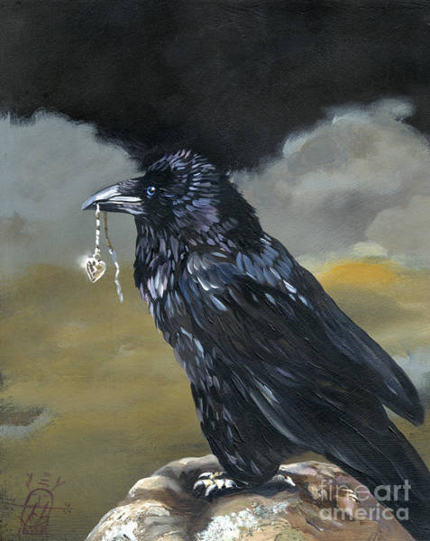 Raven Painting - Shiny by J W Baker