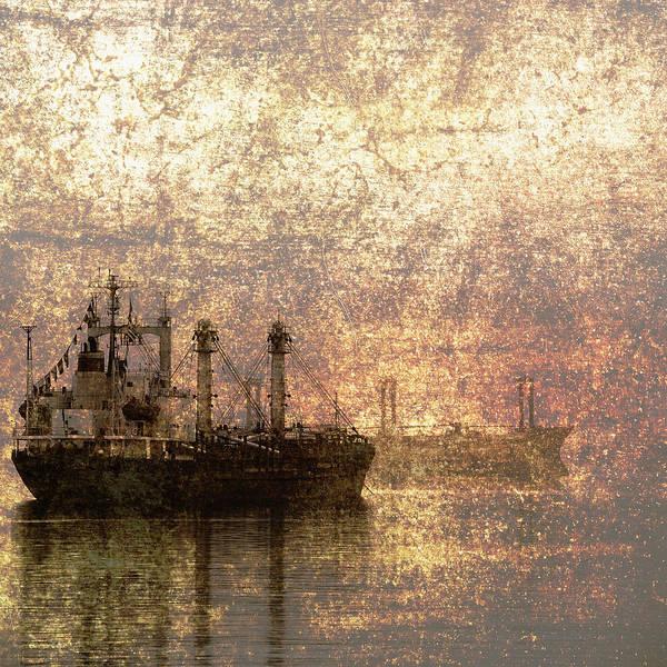 Cargo Photograph - Ship At Anchor by Skip Nall