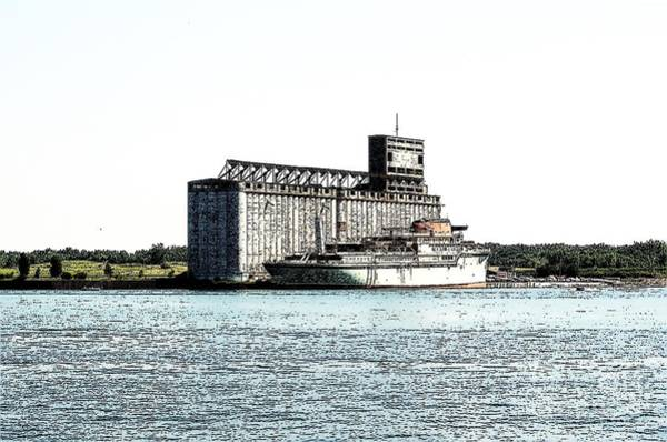 Photograph - Ship At Grain Elevators Buffalo New York Ink Sketch Effect by Rose Santuci-Sofranko