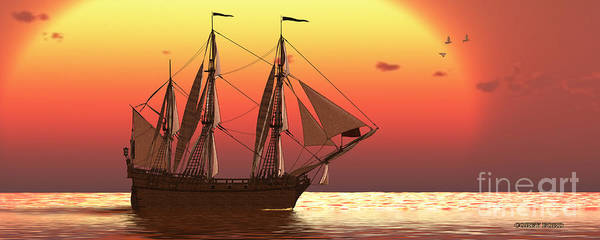 Rudder Painting - Ship At Sunset by Corey Ford