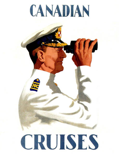 Cruiser Painting - Ship Captain On Binoculars by Long Shot