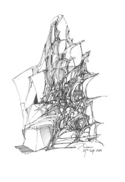 Singh Drawing - Ship Embedded In Rocks by Padamvir Singh
