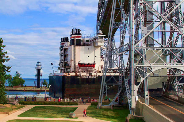 Photograph - Ship Entering Harbor Under Lift Bridge by Bonnie Follett