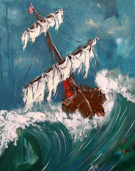 Painting - Ship In A Storm by Miroslaw  Chelchowski