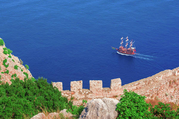 Photograph - Ship In Front Of Alanya Castle by Sun Travels