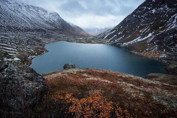 Photograph - Ship Lake In Autumn Sleet by Tim Newton
