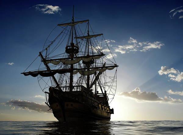 Transportation Digital Art - Ship by Maye Loeser