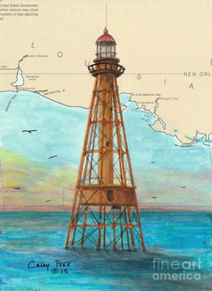 Wall Art - Painting - Ship Shoal Lighthouse La Nautical Chart Cathy Peek by Cathy Peek