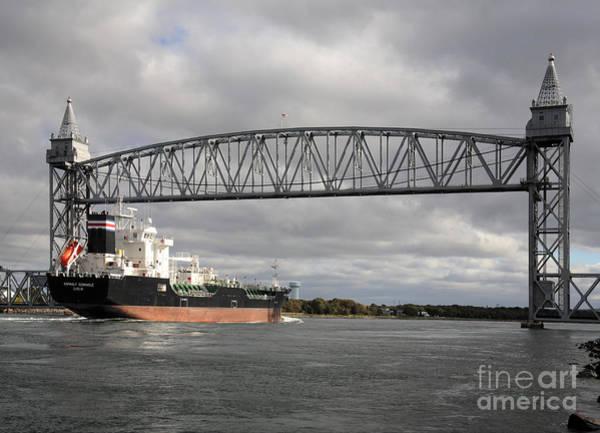 Photograph - Ship Under The Railroad Bridge On The Cape Cod Canal by William Kuta