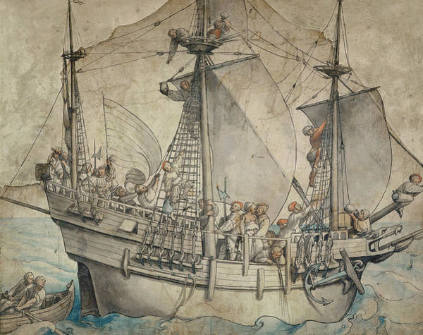 Drawing - Ship With Revelling Sailors by Hans Holbein the Younger