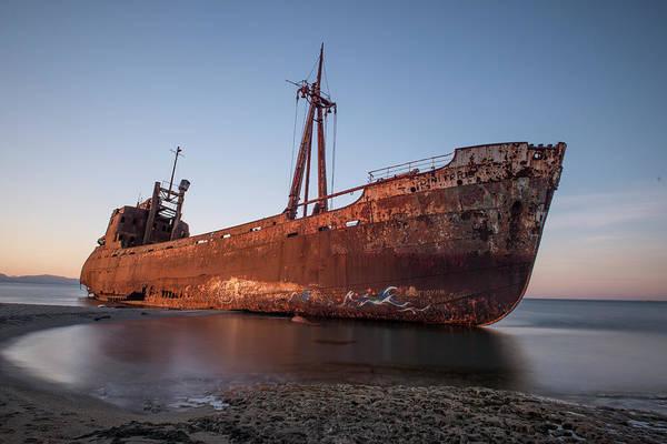 Photograph - Ship Wreck On The Beach by Jaroslaw Blaminsky