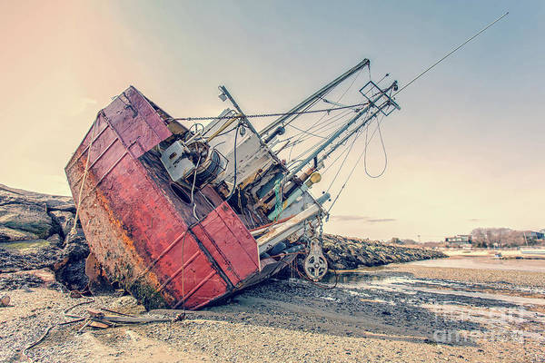 Photograph - Shipwreck Provincetown Breakwater by Edward Fielding