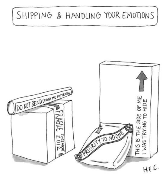 Drawing - Shipping And Handling Your Emotions by Hilary Fitzgerald Campbell