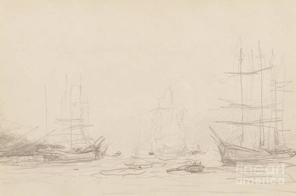 Pier Drawing - Shipping In Falmouth Harbour by Henry Scott Tuke