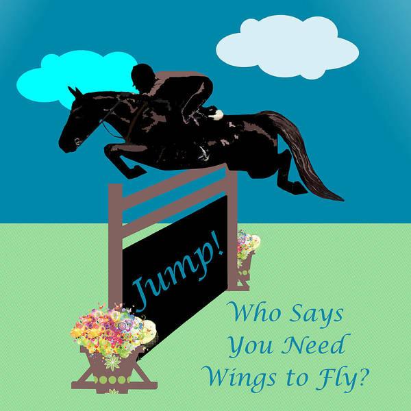 Digital Art -  Fun Equestrian Horse Jumper by Patricia Barmatz