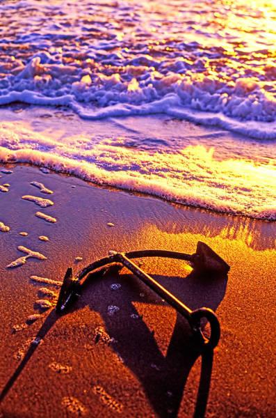 Photograph - Ships Anchor On Beach by Garry Gay