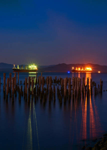 Photograph - Ships And Pilings At Night by Robert Potts