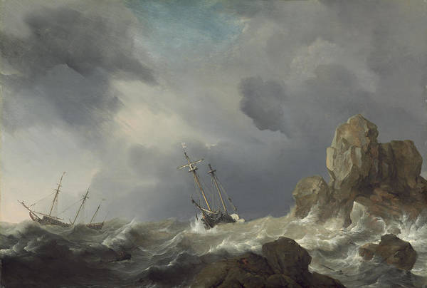 Wall Art - Painting - Ships In A Gale by Willem Van De Velde The Younger
