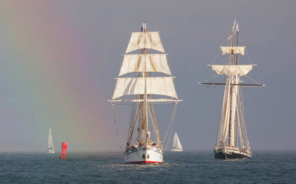 Photograph - Ships In A Rainbow by Cliff Wassmann