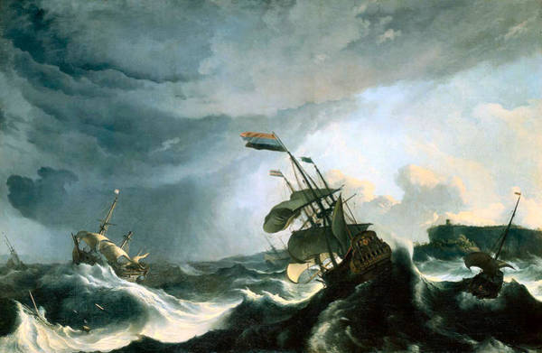 Painting - Ships In Distress In A Heavy Storm Circa 1690 by Ludolf Bakhuizen