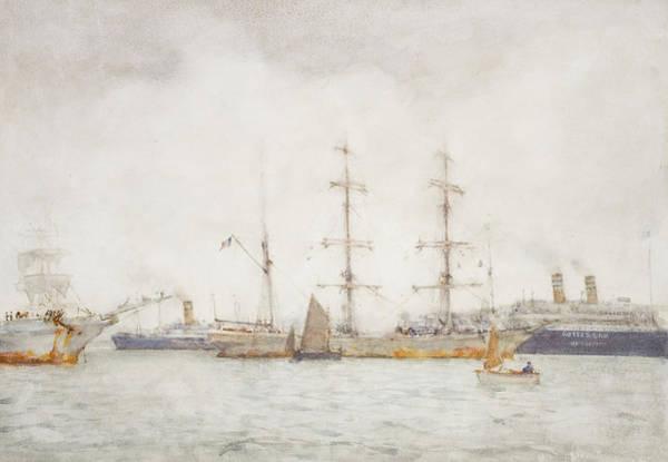 Newlyn Painting - Ships In Harbor by Henry Scott Tuke
