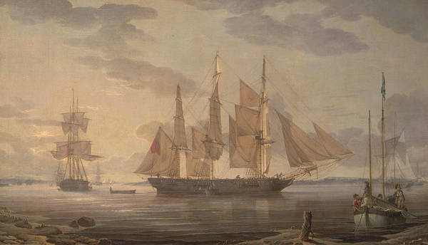 Painting - Ships In Harbor by Robert Salmon