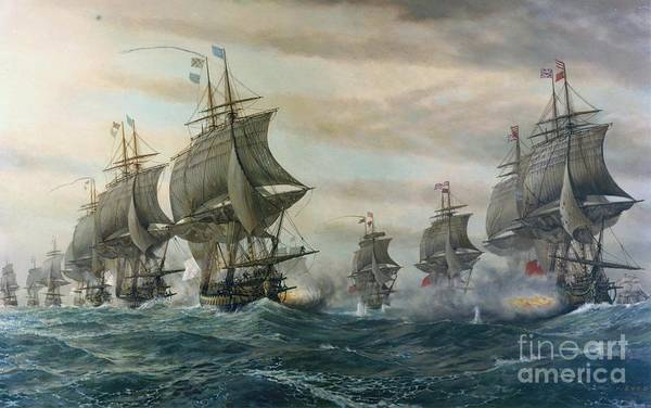 Wall Art - Painting - ships of the line at the Battle of the Virginia by MotionAge Designs